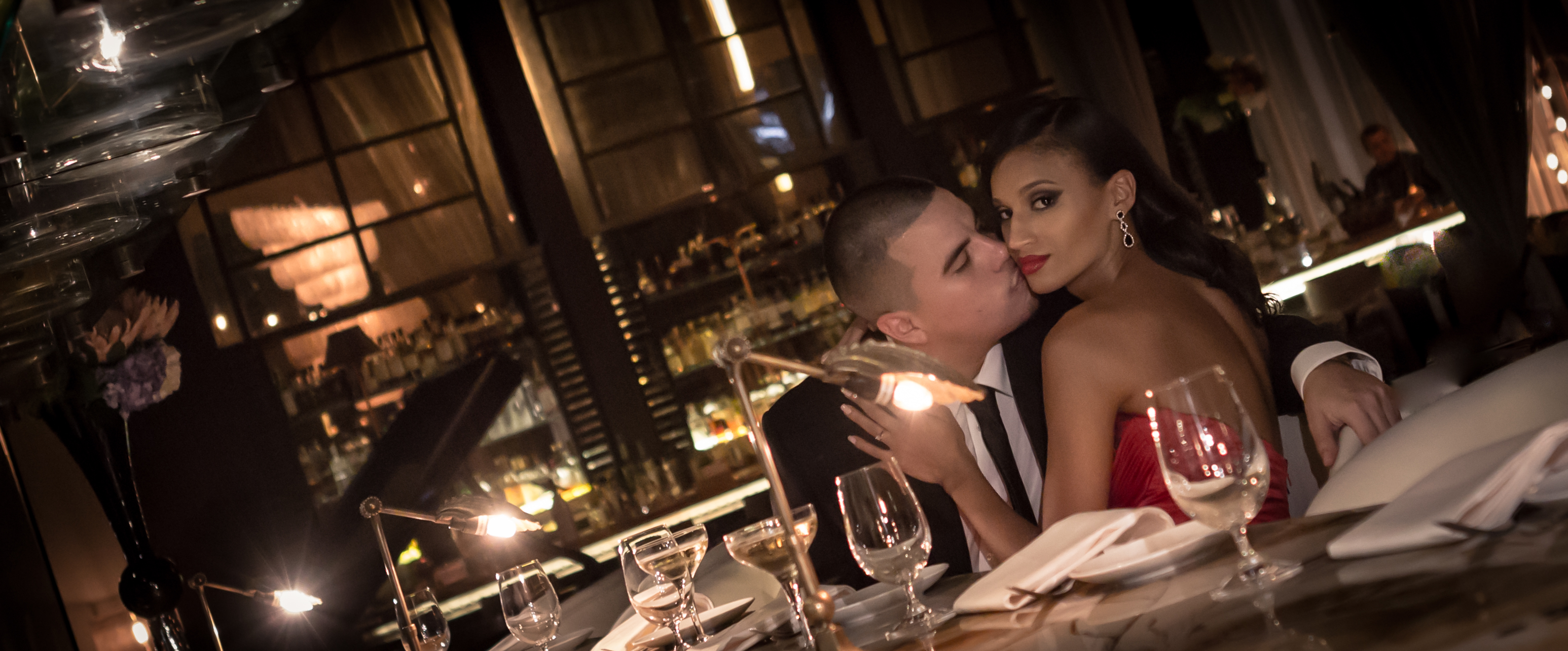 Miami Wedding Photographer image of Couple in Tamarina italian restaurant in Brickell area of Miami, Florida