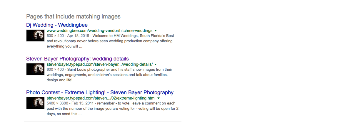 screen shot from google images showing how Hitchmeweddings.com is a fraud and stealing images from steven bayer photography
