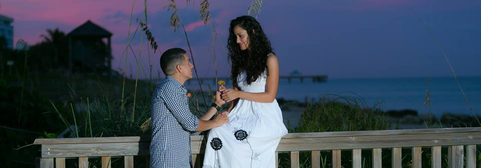 An engagement photo of tatiana and Brian before their lakeside terrace wedding day in deerfield beach florida on the beach at sunset