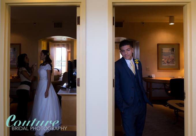 The bride and groom had rooms next to each other. I managed to capture this image before their lakeside terrace wedding as the bride was leaving in advance to not see his beautiful bride