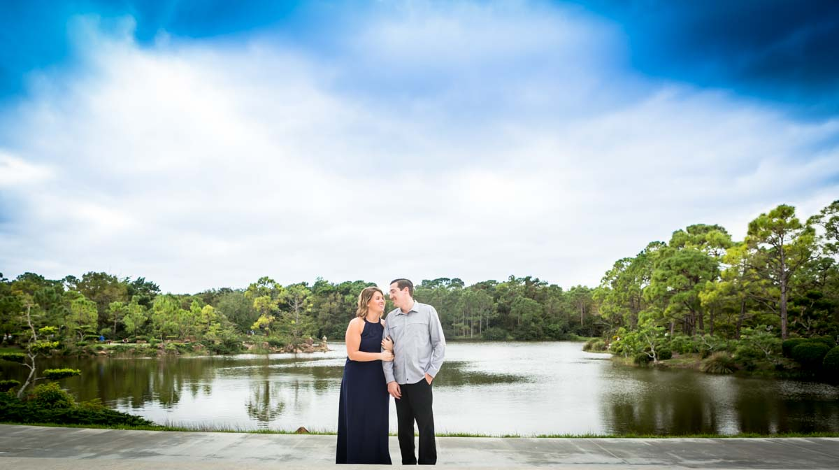 Crystal & Eric's Boca Raton Engagement Photography at Morikami Japanese Gardens Pictures at the entrance