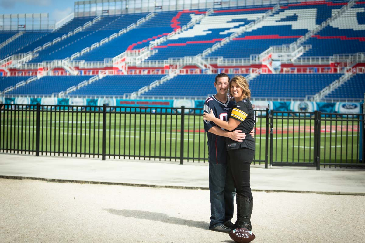Boca Raton Engagement Photography session in Boca Raton at FAU football field