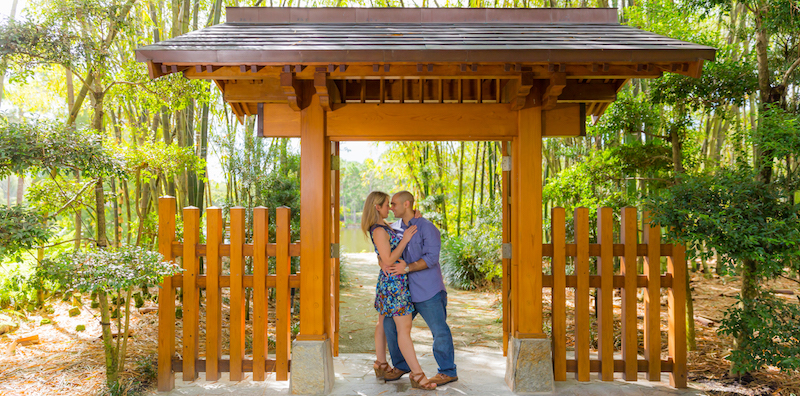 Engagement Photography session and pre-wedding photography at the Morikami Japanese Gardens by Delray Beach Photographer Alfredo Valentine of Couture Bridal Photography