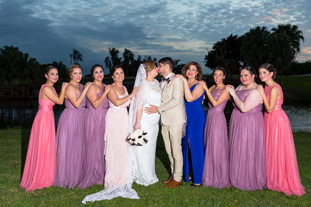 Couture Bridal Photography is the best South Florida Wedding Photographer for weddings at the Bonaventure Country Club Bridal party with bride and groom in front of Bonaventure Country Club waterfall